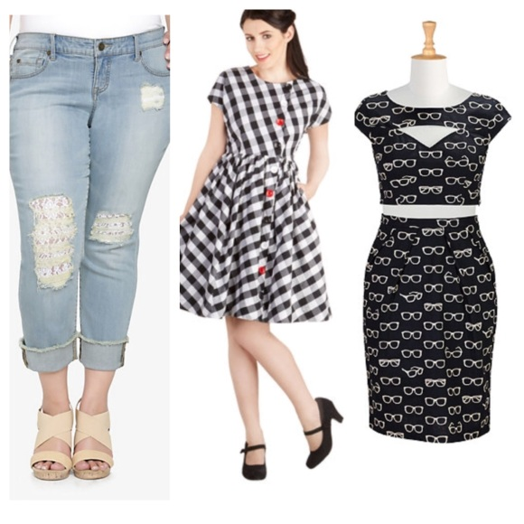 Jeans: Torrid//Gingham dress: Modcloth//Top and skirt set: eShakti