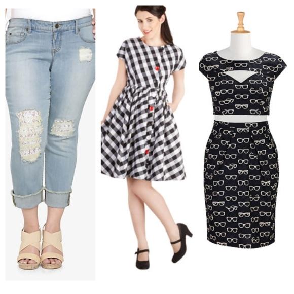Jeans: Torrid//Gingham dress: Modcloth//Top and skirt set: eShakti