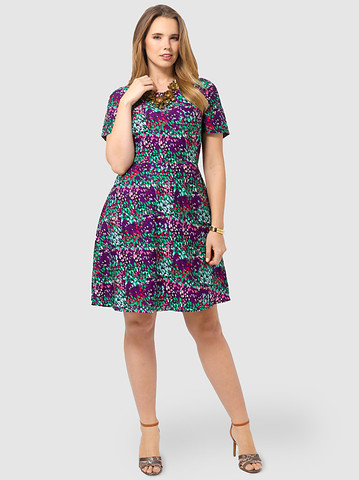 Spruce & Sage: Purple Abstract Fit & Flare Dress