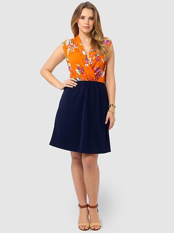 Spruce & Sage: Posey Print Shawl Collar Dress